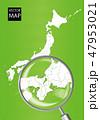 日本地図 虫眼鏡 拡大のイラスト 47953021
