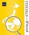 日本地図 虫眼鏡 拡大のイラスト 47953022