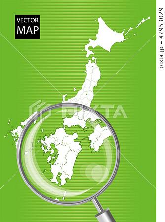 日本地図(緑):虫眼鏡で拡大された九州地方の地図|日本列島 ベクターデータ 47953029