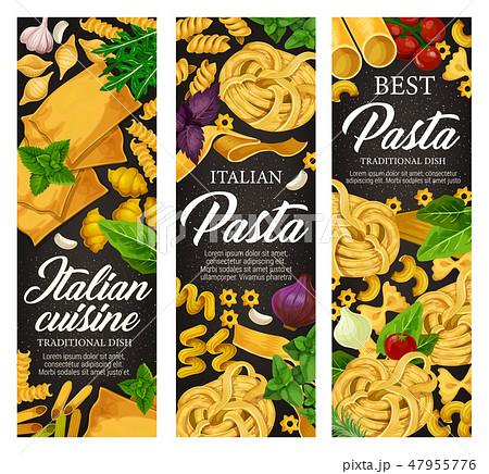 Italian pasta with seasonings, menu banners 47955776