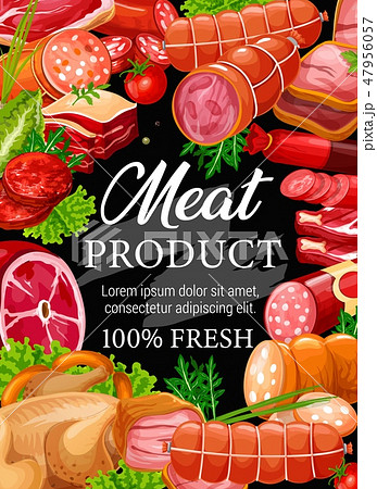 Butchery meat and sausage.Vector beef or pork 47956057