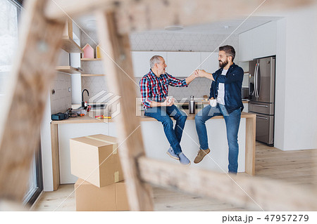 A mature man with his senior father furnishing new house, a new home concept. 47957279
