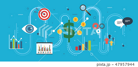 Growth chart, startup sucess concept with icons. 47957944