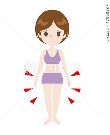 腰回りと太ももが太めな女性 47968237