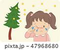 子供 花粉症 女の子のイラスト 47968680