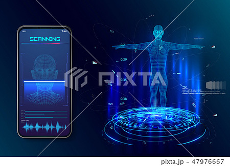 Robot. Artificial intelligence. Biometric   47976667