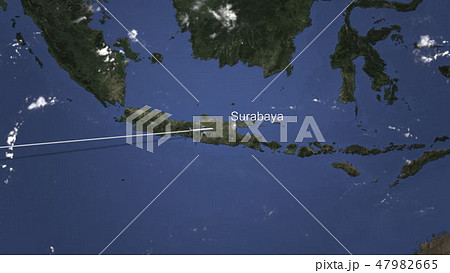 Plane arriving to Surabaya, Indonesia from west, 3D rendering  47982665