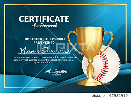 Baseball Certificate Diploma With Golden Cup Vector. Sport Award Template. Achievement Design. Honor 47982919