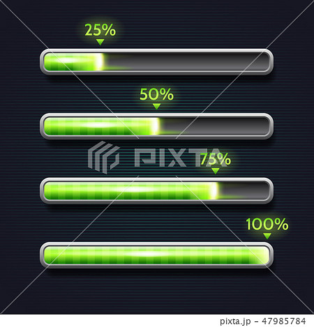 Green progress bar, loading, template for app interface 47985784