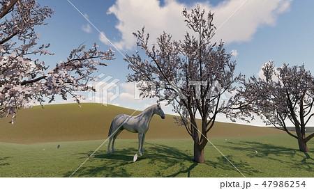 春の牧場 馬 イラスト CGパース4 47986254