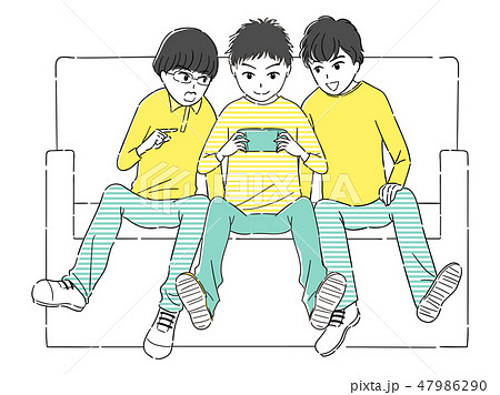 楽しくゲームをする仲良し3人組のイラスト素材 47986290 Pixta