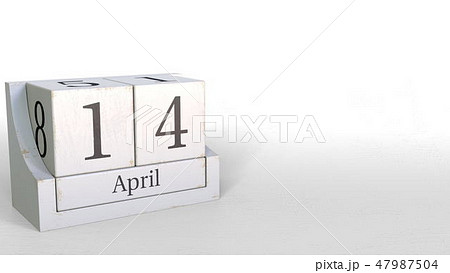 April 14 date on wooden blocks calendar. 3D rendering 47987504