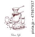 コーヒー サンド サンドイッチのイラスト 47987937