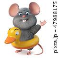 3d illustration funny mouse 47988175