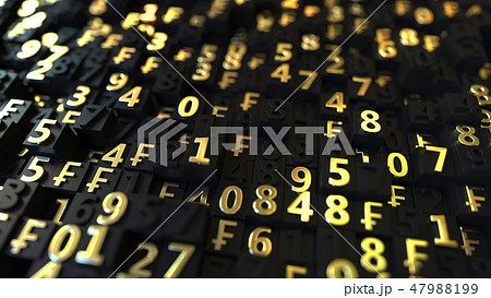 Gold Swiss Franc CHF symbols and numbers on black plates, 3D rendering 47988199