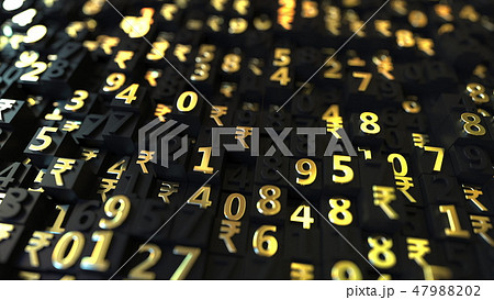 Gold Indian Rupee INR symbols and numbers on black plates, 3D rendering 47988202