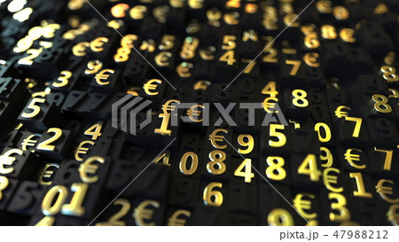 Gold Euro EUR symbols and numbers on black plates, 3D rendering 47988212