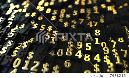 Gold US Dollar USD symbols and numbers on black plates, 3D rendering 47988216