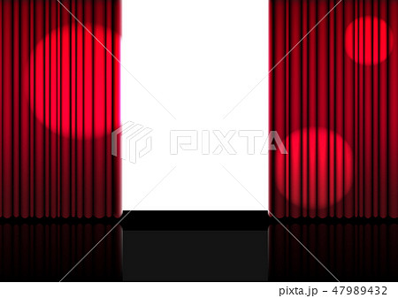 3D Mock up Realistic Open Red Curtain on Stage 47989432