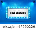 theater sign on blue curtain vector illustration 47990229