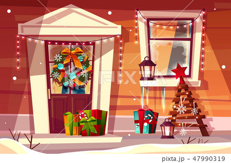 House in Christmas or New Year decorations 47990319