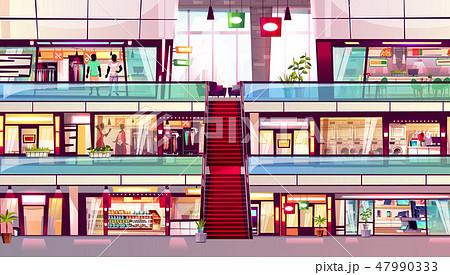 Mall shops escalator interior illustration 47990333