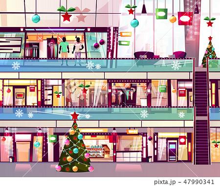 Christmas mall shops escalator illustration 47990341