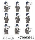 若い女性 仕草 イラスト ポーズ セット 47995641
