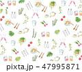 手描き水彩イラストの背景テクスチャ キッチン小物 47995871
