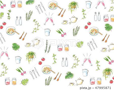 手描き水彩イラストの背景 キッチン小物 47995871