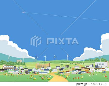 街 住宅 家 住居 住宅地 風力発電 エコ 48001706