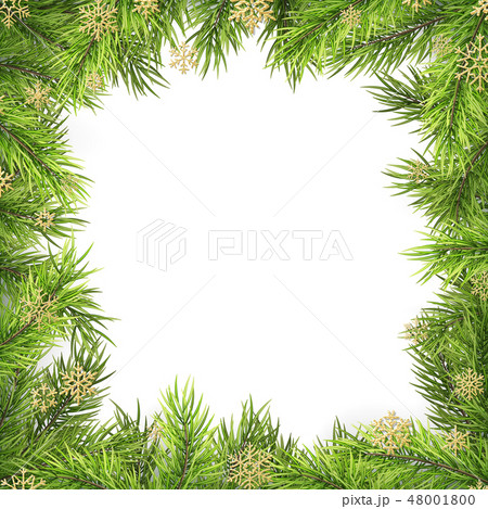 Christmas frame with pine branches and shadow isolated on white. EPS 10 48001800