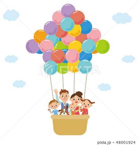 家の形の風船と家族 48001924