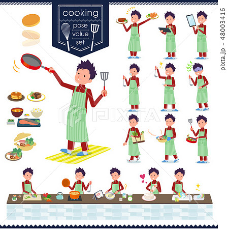 flat type school boy red jersey_cooking 48003416