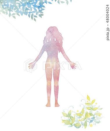 女性のシルエット 48004024