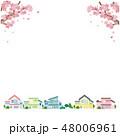 桜と町並み イラスト ベクター 48006961