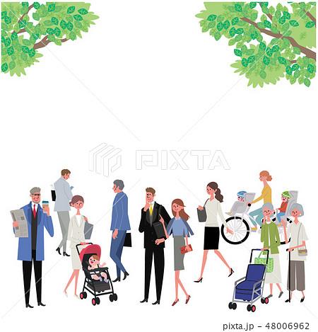 新緑と人々 町並み イラスト デザイン 48006962
