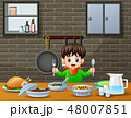 少年 食事をする 食事のイラスト 48007851