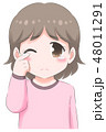 涙ぐむ女の子・ピンク 48011291