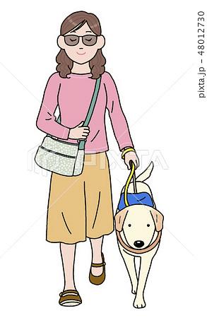 日本ユニバーサルマナー協会監修素材 盲導犬と外出 48012730