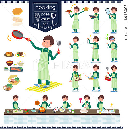 flat type school boy green jersey_cooking 48018068