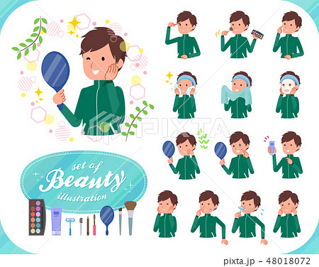 flat type school boy green jersey_beauty 48018072