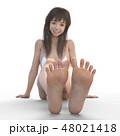 足の裏を見せる若い女性 permingリアル3DCGイラスト素材 48021418
