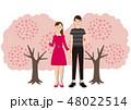 お花見で桜を楽しむカップル 48022514