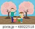 お花見で桜を楽しむ家族 48022518