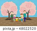 お花見で桜を楽しむ3世帯家族 48022520