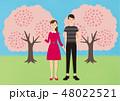 お花見で桜を楽しむカップル 48022521