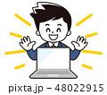 ノートパソコン パソコン サラリーマンのイラスト 48022915