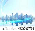 都会 都市 ビル群 高層ビル ネットワーク CG 48026734