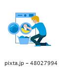 男性 洗濯 洗濯物のイラスト 48027994